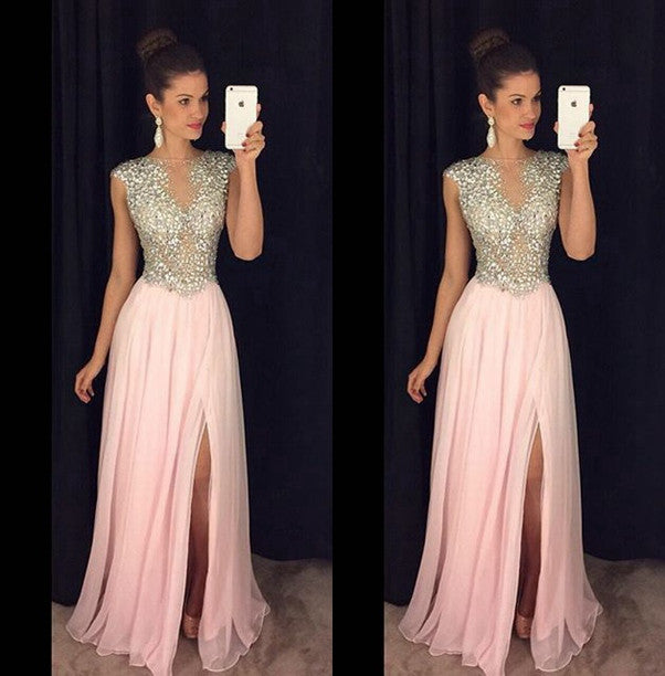 Amazing Pink Prom Dress, Beaded Prom Dresses, Party Gown, Graduation Dresses, Formal Dress For Teens, pst1583