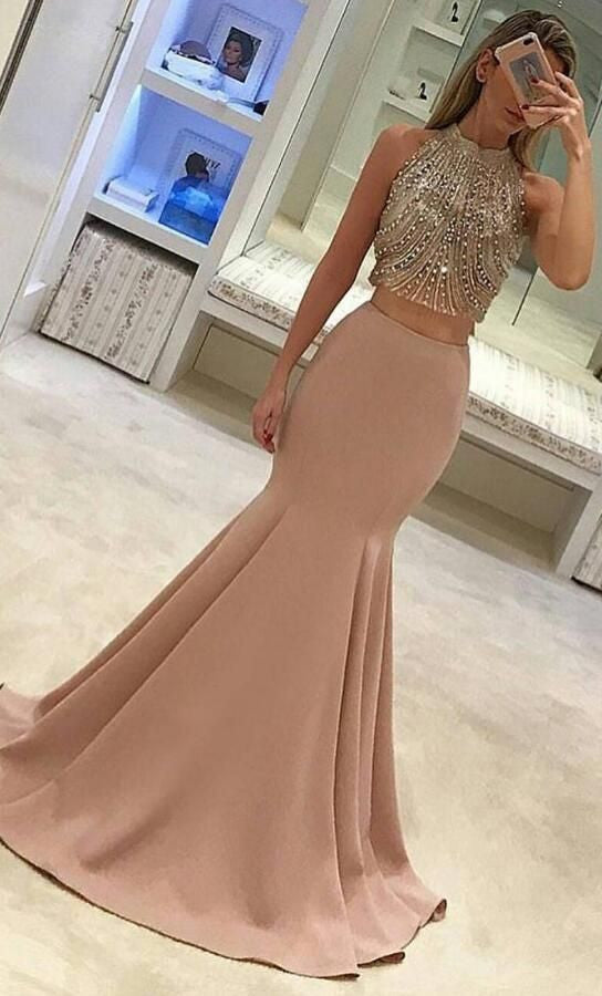 Two Pieces Prom Dress with Beaded Top, Prom Dresses, Party Gown, Graduation Dresses, Formal Dress For Teens, pst1598
