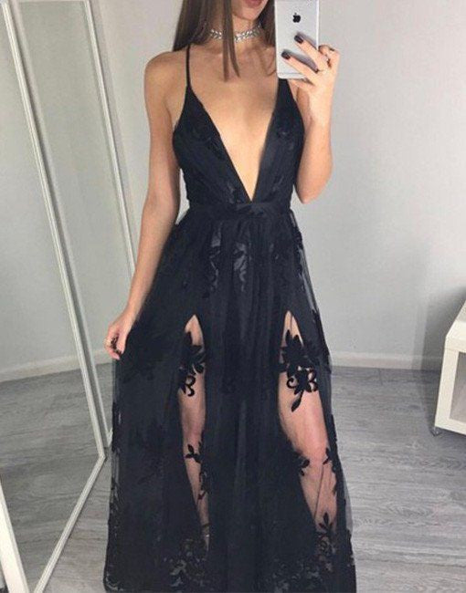Sexy Black Lace Prom Dress With Slit Prom Dresses Party Gown