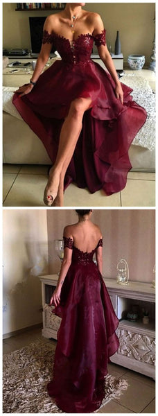 High Low Prom Dress Off The Shoulder Straps, Prom Dresses, Party Gown, Graduation Dresses, Formal Dress For Teens, pst1601