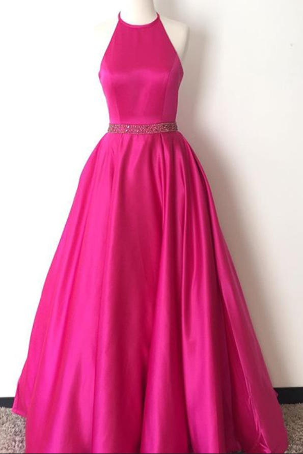 Hot Pink Prom Dress Halter Neckline, Prom Dresses, Party Gown ...