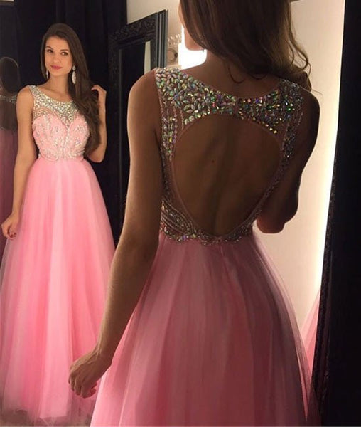 Backless Pink Prom Dress, Sweet 16 Dress, Party Gown, Graduation Dresses, Formal Dress For Teens, pst1607