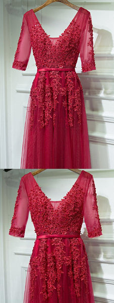 Burgundy V-Neck Long Prom Dress with Short Sleeves pst1612