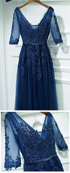 A-Line V-Neck Long Prom Dress with Middle Sleeves pst1613