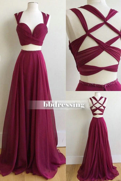 Gorgeous Sexy 2 Pieces Prom Dress, Long Prom Dresses, Graduation Party Dresses, Formal Dress For Teens, pst1615