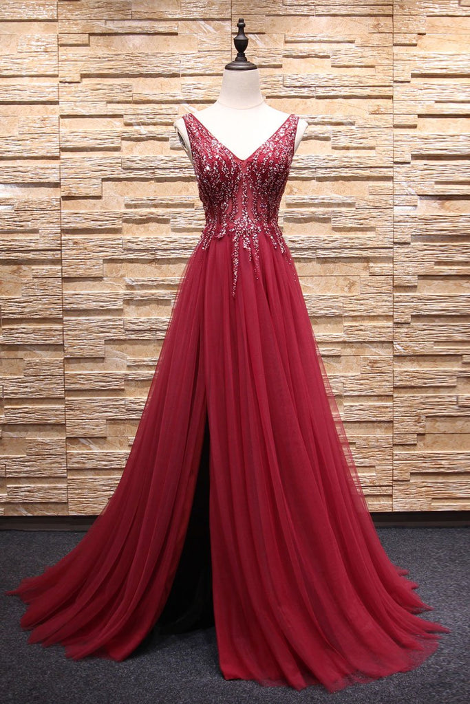 V Neckline Prom Dress with Slit Prom Dresses Party Formal Wear pst1692