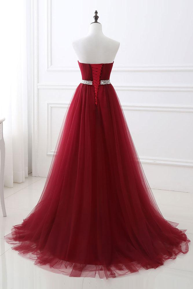 Long A-Line Prom Dress Corset Back Prom Dresses Party Formal Wear ...