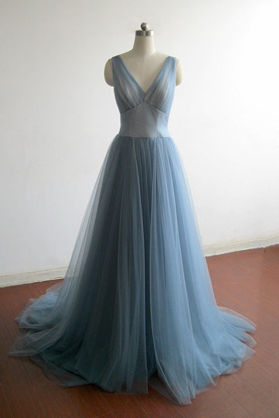 Simple Long Prom Dress Deep V Neckline Prom Dresses Party Formal Wear pst1702