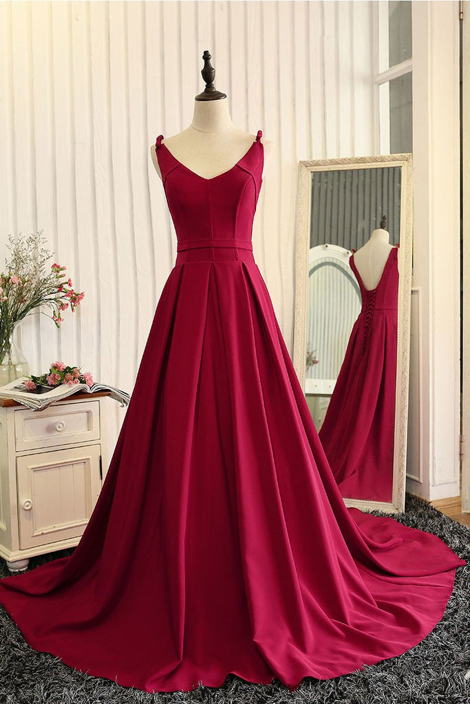 A Line Prom Dress Lace Up Back Prom Dresses Party Formal Wear