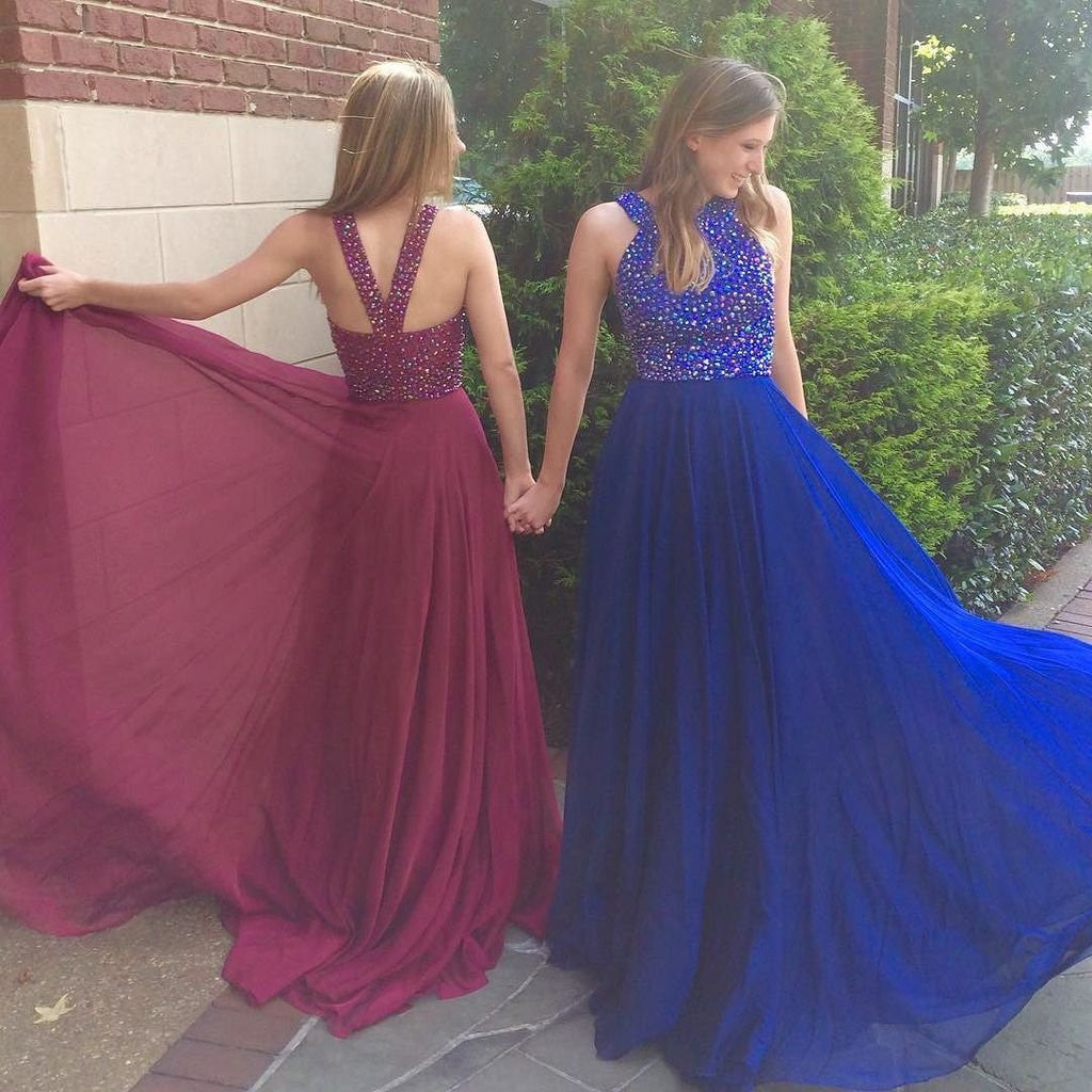 Chiffon Prom Dresses Party Dresses Beaded Bodice pst2004
