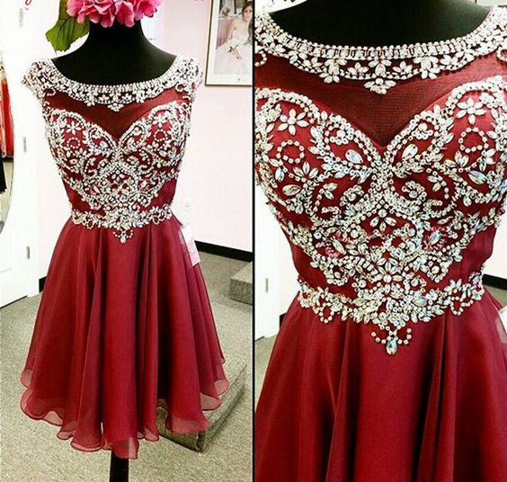 Beaded Chiffon Homecoming Dresses pst2016
