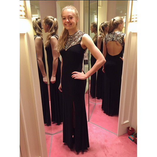 Black Beaded Prom Dresses pst2024