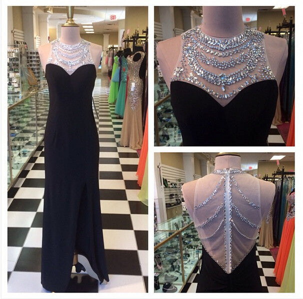 Beaded Prom Dresses Illusion Back pst2036