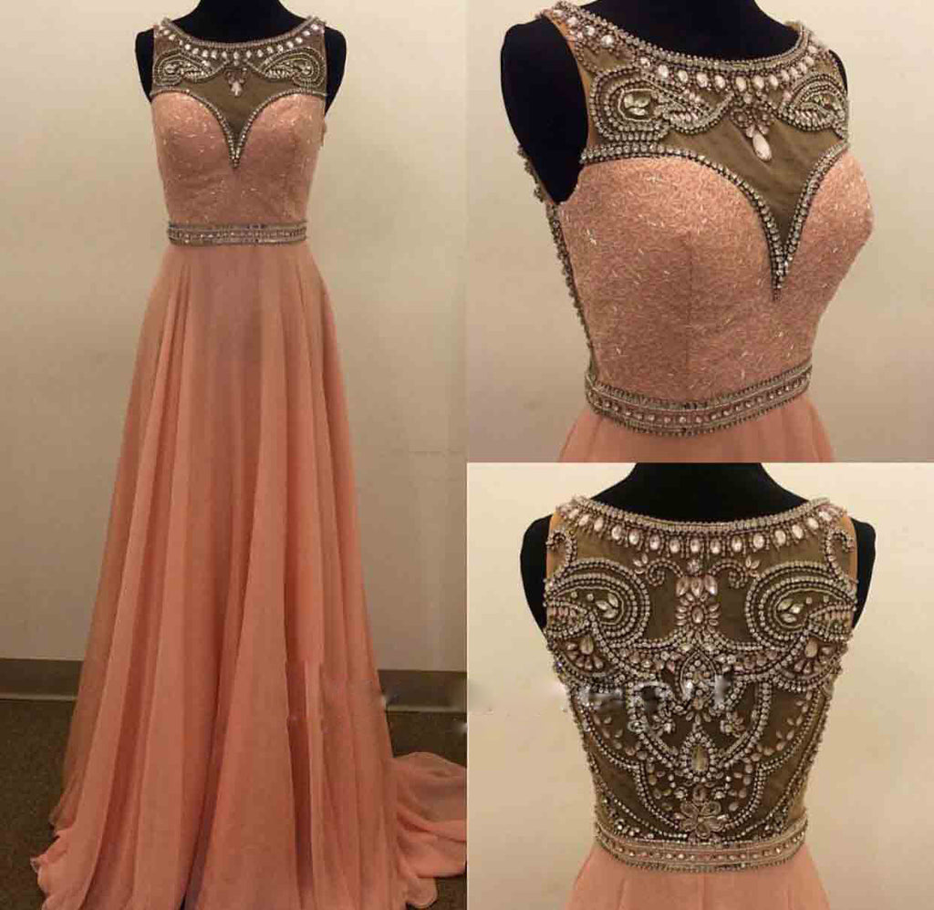 Beaded Prom Dresses Illusion Back pst2037