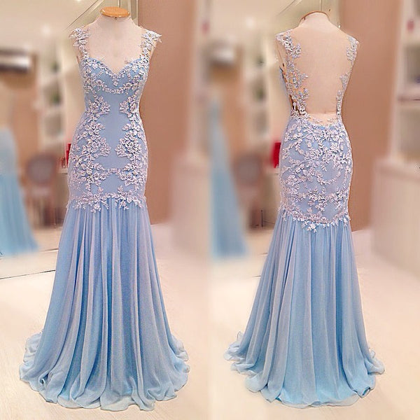 Lace and Chiffon Mermaid Prom Dresses pst2039