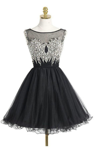 Black Beaded Organza Homecoming Dresses Graduation Party Dresses Beaded Bodice pst2048