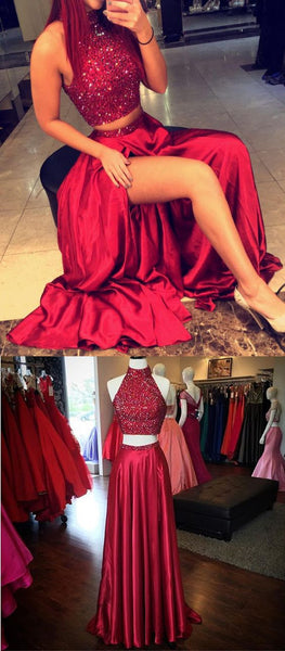 Two Piece Satin Prom Dresses Beaded Bodice Halter Neckline pst2052