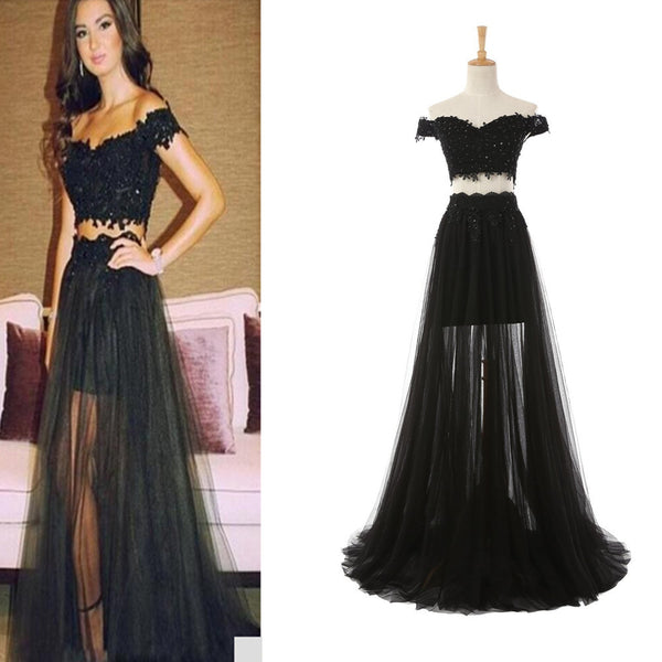 Two Piece Tulle and Lace Prom Dresses Off Shoulder pst2053
