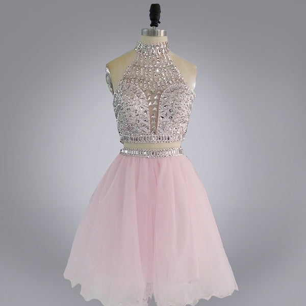 Two Piece Beaded Tulle Homecoming Dresses pst2055