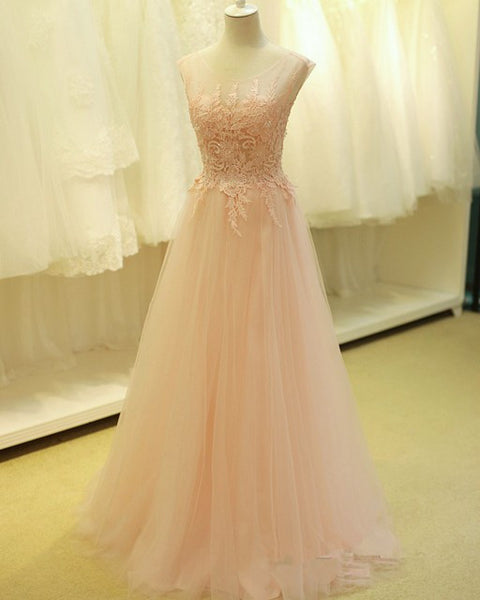 Pearl Pink Lace Prom Dresses Tulle Skirt Sexy Back pst2062