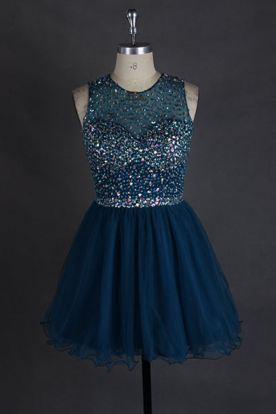 Beaded Homecoming Dresses Short Prom Dresses Graduation Party Dresses Keyhole Back pst2064
