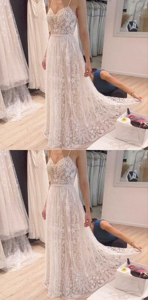 Lace Wedding Dress Bridal Gown Spaghetti Straps pst2897