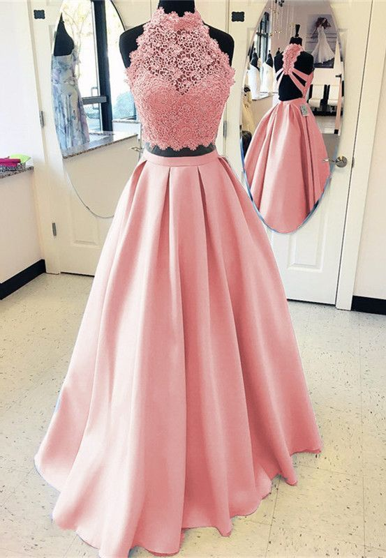 Two Pieces Lace Prom Dresses Graduation Party Dresses pst2898