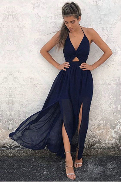 Halter Chiffon Prom Dresses Graduation Party Dresses Formal Dresses pst2990