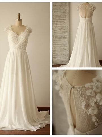 Chiffon Wedding Dress with Back Keyhole 3-D Flowers Details pwd0004