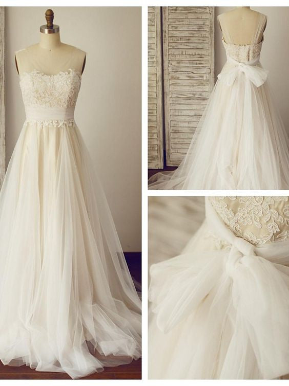 Lace and Tulle Wedding Dress with Back Bow knot pwd0007