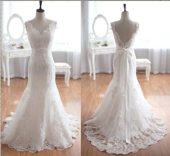 Strapless Lace Mermaid Wedding Dress with Satin Waistband pwd0011