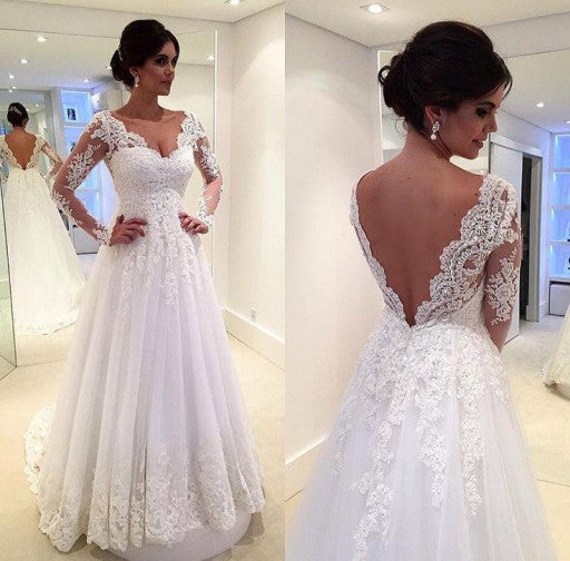 A line lace wedding dress with long sleeves pwd0013