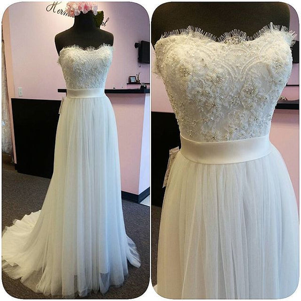 Strapless Lace and Tulle Wedding Dress pwd0018