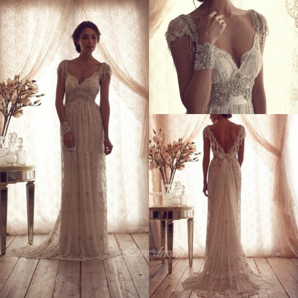 2016 Bohemian Lace Wedding Dress pwd0022