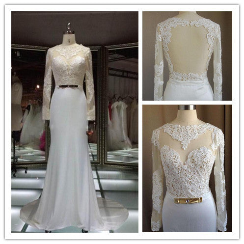 Lace Wedding Dress with Sleeves pwd0024