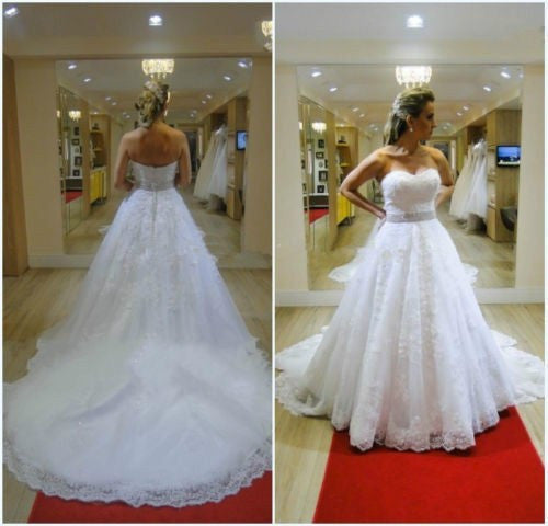A-line Strapless Lace Wedding Dress pwd0025