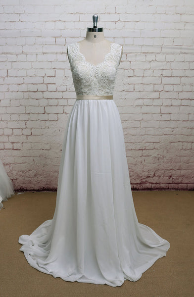 Chiffon Lace Wedding Dress pwd0027