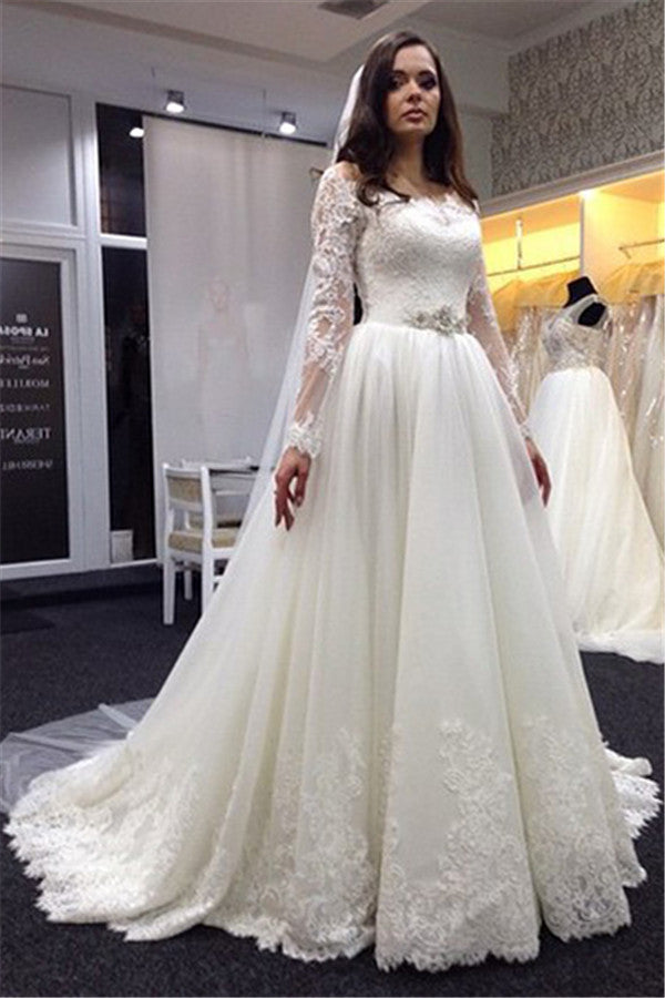 Lace Wedding Dress with Long Sleeves Chapel Train pwd0032