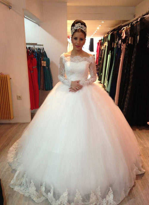 Lace Bridal Gown with Long Sleeves pwd0035