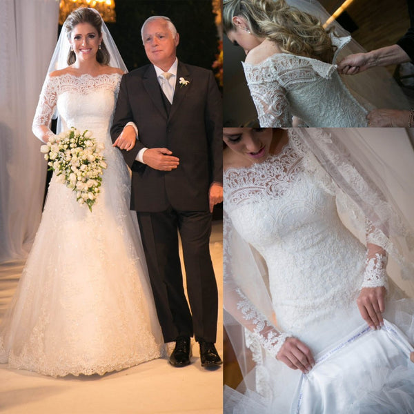 Lace Wedding Dress Long Sleeves Zipper Back pwd0042