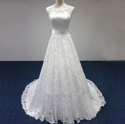 A-line Strapless Lace Wedding Dress pwd0046