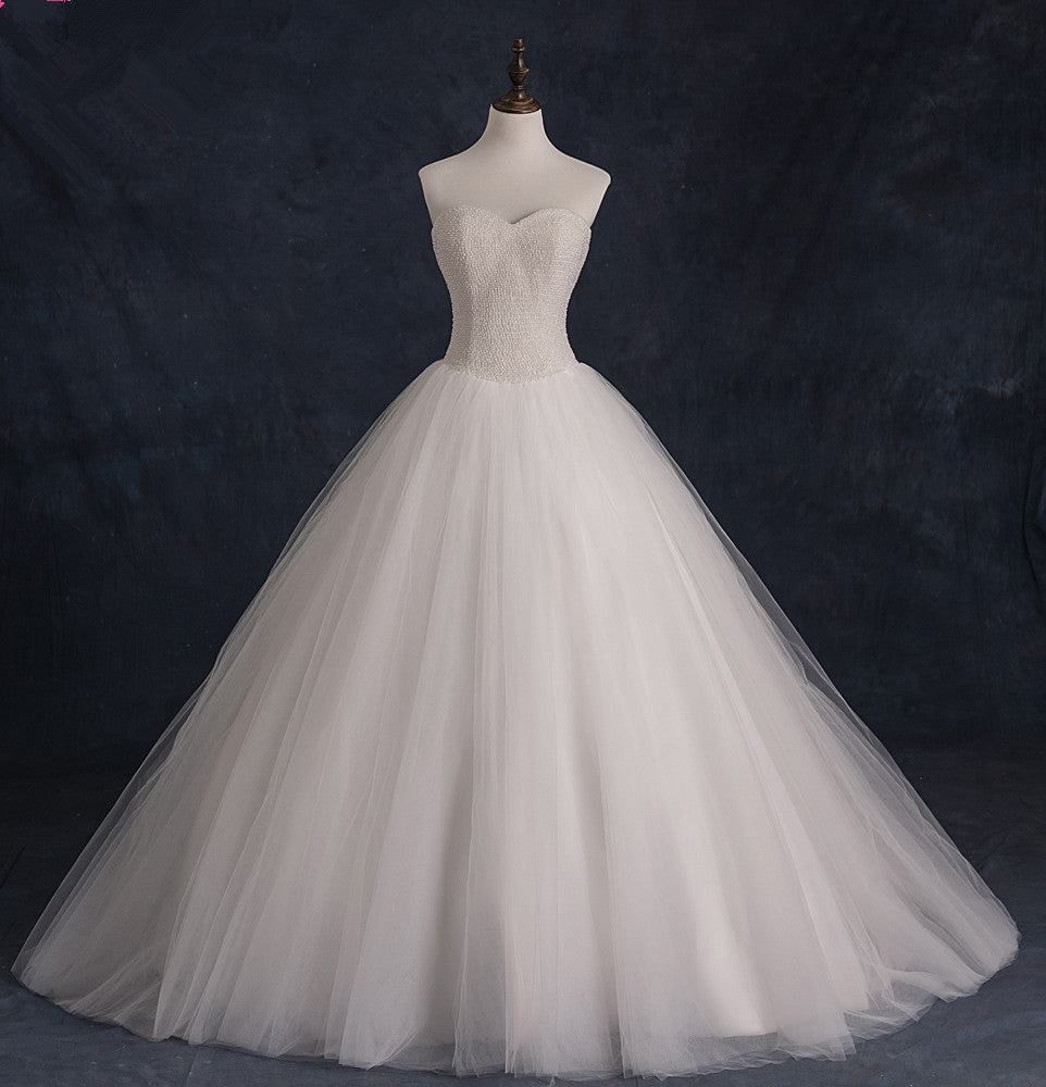 Tulle and Beads Wedding Dress pwd0056