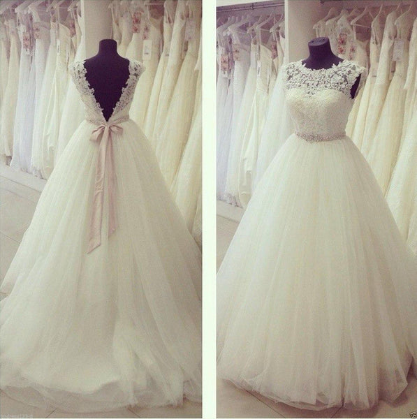 Lace Wedding Dress Backless pwd0058