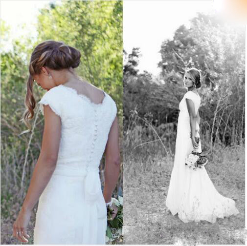 Lace Wedding Dress Buttons Back Cap Sleeves