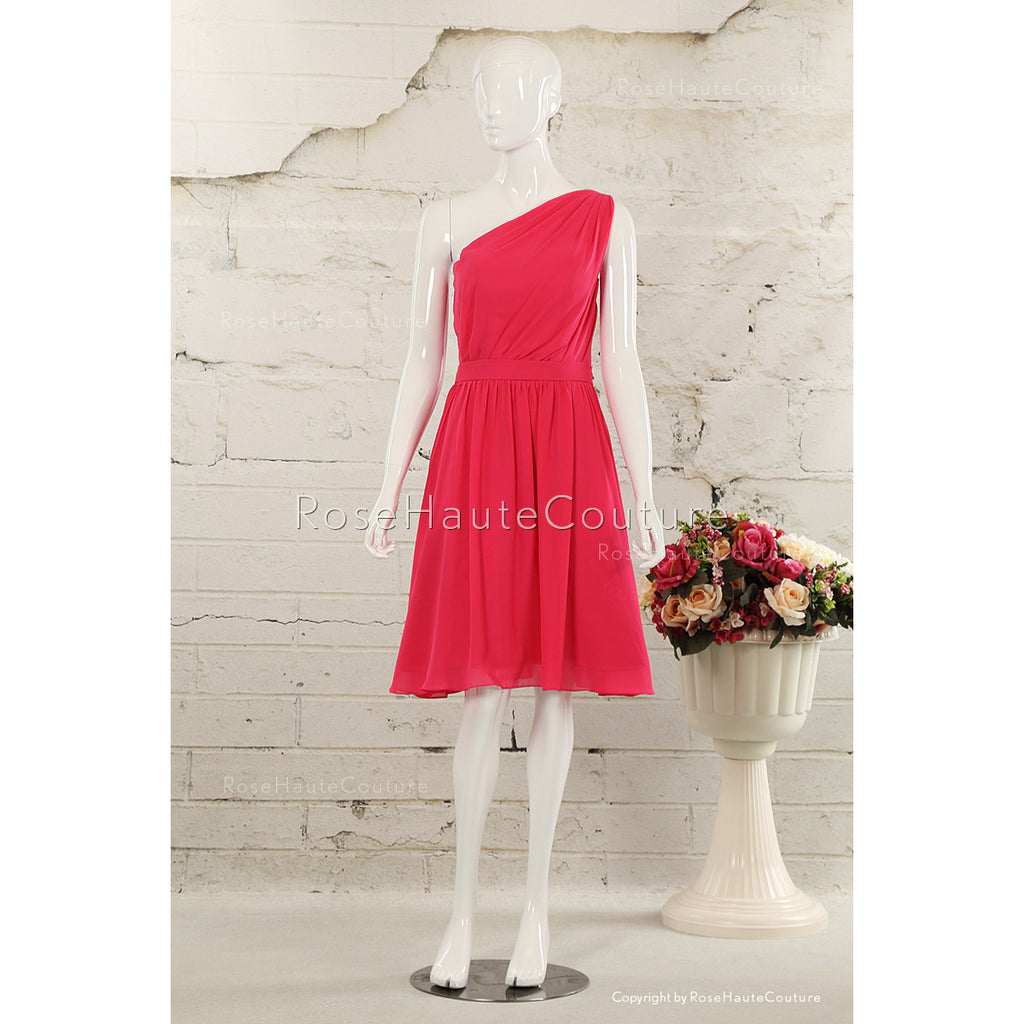 BBDressing Asymmetrically One Shouder Pleated Knee Length Chiffon Bridesmaid Dress bb0025
