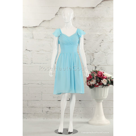 BBDressing Princess V Neck Knee Length Chiffon Bridesmaid Dresses With Cascading Ruffles bb0028