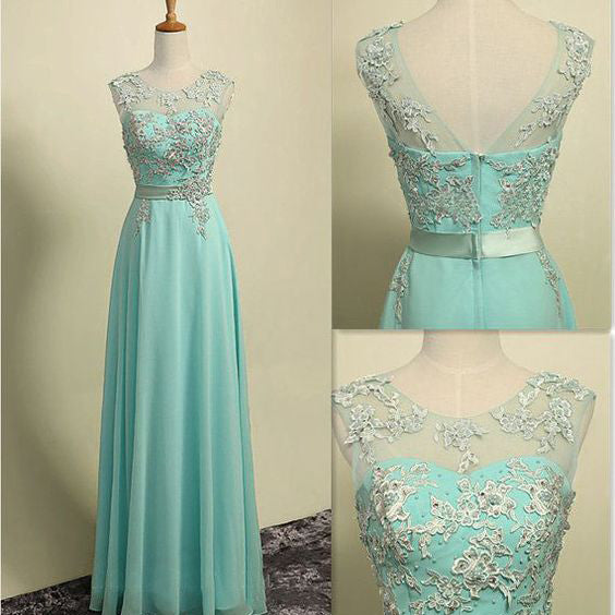Floor Length Illusion Neck Chiffon Prom Gowns with Applique pst0002