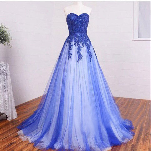 A Line Strapless Sweetheart Blue Prom Dresses with Beaded Applique Bodice pst0004