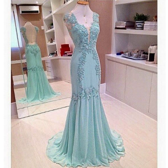 Long Sleeveless Mermaid Prom Gown V Neckline Applique pst0006