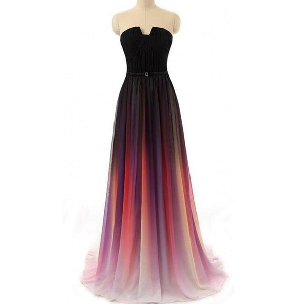 Long Strapless Gradient A Line Prom Gowns pst0010